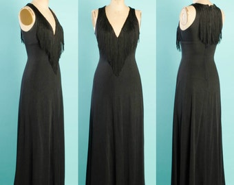 Vintage 1970's Joseph Magnin Fringed Maxi Dress