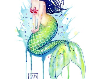 Mermaid Splash - Original watercolor painting