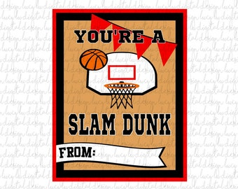 VALENTINES - BASKETBALL Cards - PRINTABLE Valentine Cards