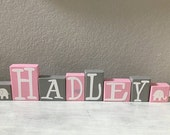 CUSTOM LETTER BLOCKS - Personalized Elephant Nursery Sign - Baby Shower Centerpiece - Jungle Safari Name - Decoration Gift