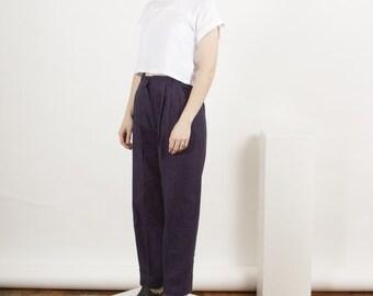 Wool Plaid Pants / High Waisted Fall Pants / Pleated Purple Pants