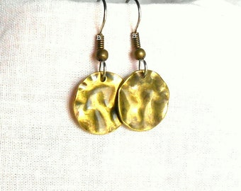 Antiqued Coin Hammered Earrings Bronzed Gold Surgical Steel French Hooks Antiqued Copper