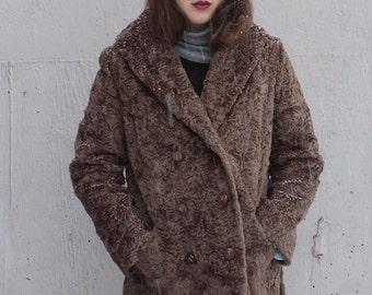 Vintage 1960's Coat // 60s 70s Mocha Brown Faux Persian Lamb Wool Coat // Winter Dress Coat