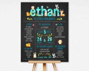 Woodland Boy First Birthday Chalkboard Poster | Celebration Poster | Baby Animal 1st Birthday | Birthday Poster | DIY | Printable  1515blue