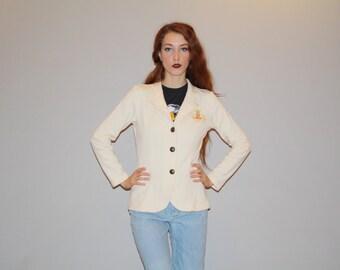 Vintage 90s Preppy Ralph Lauren Polo Ivory Women's Blazer Cardigan Coat -  Vintage Women's Blazers  -  Vintage  Cardigans  - W00075