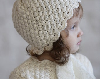 Knit Baby Hat Christening Baptism accessorie Newborn Knitted Infant Photo Prop Off White All Sizes Pixie Beanie