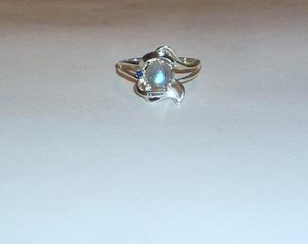Genuine Labradorite & Blue Sapphire Ring Sterling Silver .925