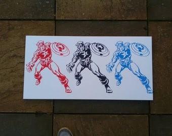 Captain America painting Pop art stencil art canvas spray paint comics marvel avengers classic red white blue superhero Americana graffiti