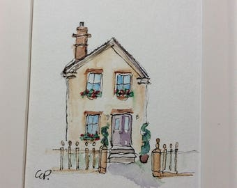 Charming Home Watercolor Card / Hand Painted Watercolor Card