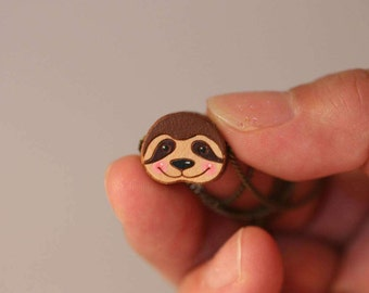 Smliey sloth hand painted necklace