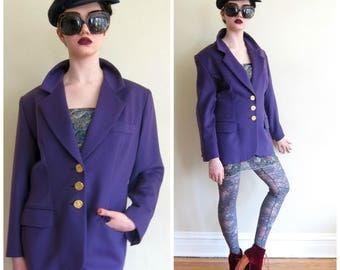 Vintage 1990s Yves Saint Laurent Encore Blazer / 90s Designer Jacket Purple Wool Hammered Gold Buttons / Large