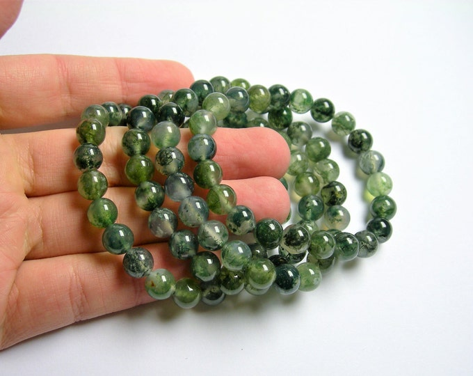 Moss agate - 8mm round beads - 23 beads - 1 set - AA quality  - HSG47
