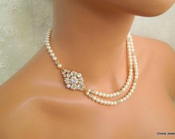 Pearl Necklace Bridal Necklace bridal pearl Necklace pearl rhinestone bridal necklace gold pearl necklace brooch pearl necklace COLLEEN