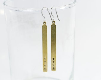 Stay Wild Stamped Jewelry Hand Stamped Jewelry Stamped Earrings Hypoallergenic Earrings Gold Earrings Coquette Dangle Earrings Gifts for Her