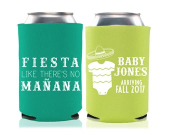 Mexican Fiesta Themed Baby Shower Favors - Baby Shower Can Coolers, Coed Gender Reveal, Stubby Holders, Drink Coolies