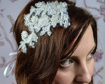 Bridalheadpiece Lace Crystal Pearls Glasbeads Clear White