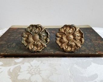 "Vintage Ornate Brass Drawer Pulls Knobs Round 2"" Diameter Embossed Rosette Medallion Pair Set of 2 With Beautiful Patina, Bohemian Decor"