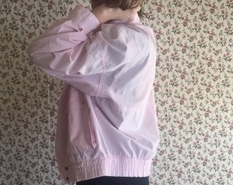 80s powder pink vintage windbreaker athletic style super kawaii pastel goth baby PINK lightweight jacket unisex medium M large L kitsch fun