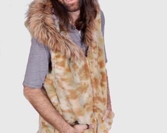 SALE! Faux Fur Reversible Desert Camo Vest: One of a kind Size Medium.