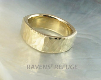 man's hammered square wedding band in 14k gold, 8mm wide, comfort fit