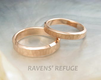 pink gold rings -- hammered wedding bands in rose gold