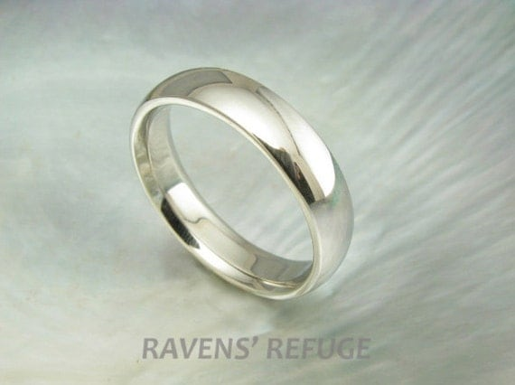 5mm white gold wedding band for men or women -- half round dome ring in 14k gold