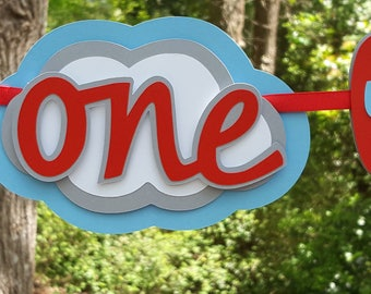 One, 1st Birthday Airplane and Cloud Highchair Banner in Red and Blue