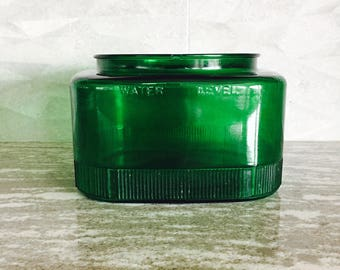 Vintage Green Glass Jar, Industrial Glass Reservoir, Square Jar