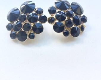 Onyx Cluster - Super Chic - Black and gold 1980s era cluster earrings