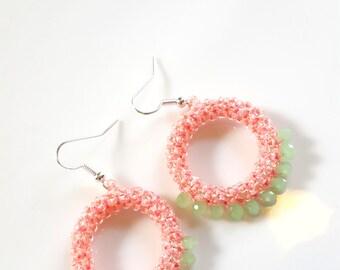 Beaded Earrings Bead Stitched Hoop Earrings Pink Green