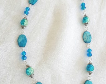 Turquoise Blue Bead Necklace Glass Beads