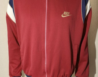 80's Nike blue tag era polyester burgundy and stripes zip up running gym athletic sports track jacket - men's sz L/XL