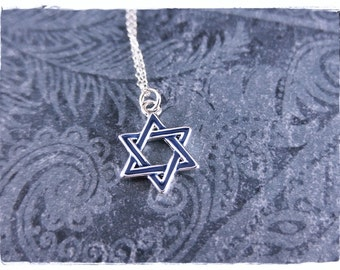Blue Star of David Necklace - Blue Enameled Silver Plated Star of David Charm on a Delicate Sterling Silver Cable Chain or Charm Only