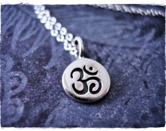 Tiny Om Necklace - Tiny Sterling Silver Om Charm on a Delicate Sterling Silver Cable Chain or Charm Only