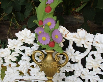 """REDUCED Vtg 1970 Mid Century Ornate Gold Tone Purple Flowers Tall Syroco Floral Vase Wall Decor Plaque, Hollywood Regency, 23.25"""" x 6.5"""""""