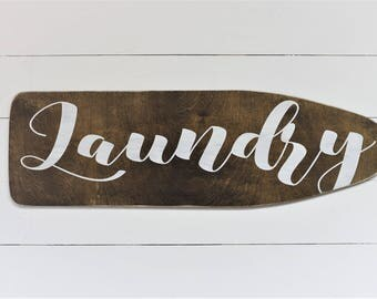 Laundry Ironing Vintage Inspired Board Hand Painted Stained Wood Cut Out Sign