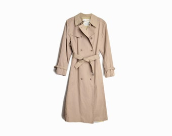 sale! 50% off - Vintage Tan Trench Coat / Double Breasted Trench Coat / Rain Jacket / Yuppie Fashion - women's large