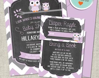 Owl Baby Shower Invitation, Owl Invitation, Owl, Purple, Gray, Chevron, Branch | Printed