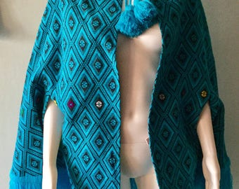 Vintage 1970s Blue and Black Guatemala Poncho