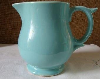 Vintage BLUE MCCOY PITCHER MidCentury Ohio Pottery Company McCoy Soft Robins Egg Blue Pottery Milk Pitcher Table Pitcher Heavy Pottery McCoy