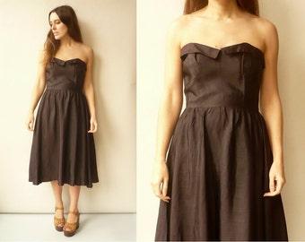 Radley 1980's Vintage Black Off The Shoulder Prom Party Dress Size S/M