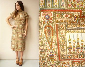 1950's Vintage Oriental Novelty Printed Wiggle Dress With Mandarin Collar Size Small