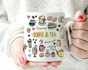 Coffee and tea doodles mug - Ceramic Mug - cute colorful Coffee cup. 11oz ceramic mug