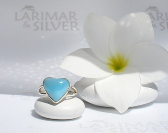 Larimar ring size 5.5 by Larimarandsilver, Virgin Love - powder blue Larimar heart, japan size 10, blue heart ring, handcrafted Larimar ring