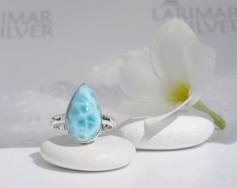 Larimar ring size 7.5 by Larimarandsilver, Mermaid Crunch - turquoise Larimar pear, turtleback Caribbean Sea blue drop handmade Larimar ring