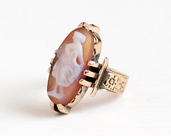 Antique 10k Rosy Yellow Gold Sardonyx Full Figure Cameo Ring - Vintage Victorian Size 3 1/2 Carved Female Silhouette Goddess Fine Jewelry