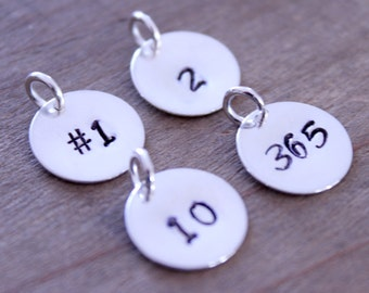 Hand Stamped Number Charm, Personalized Round Sterling Silver Charm, Two Digit Number Charm, Three Digit Number Charm, Jersey Number Charm
