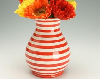 Striped Ceramic Vase, Red and White Stripes Pottery Vase, Striped Flower Vase, Ceramic Red and White Stripes Flower Vase