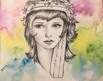 Bohemian Girl Illustration portrait ink drawing waterolor 8x8 inches original artwork colorful art illustration