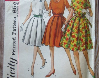 Vintage 1960s Misses One-Piece Dress w/ Round Neckline, Box Pleated Skirt & 2 Sleeve Variations Size 14 Simplicity Pattern 4802 Cut/Complete